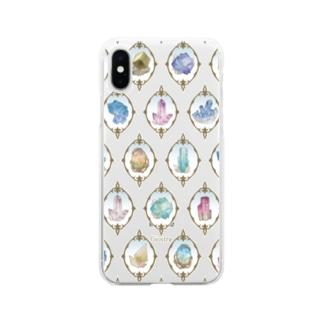 鉱物柄 白2 Soft clear smartphone cases