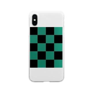黒緑 流行 升目 Soft clear smartphone cases
