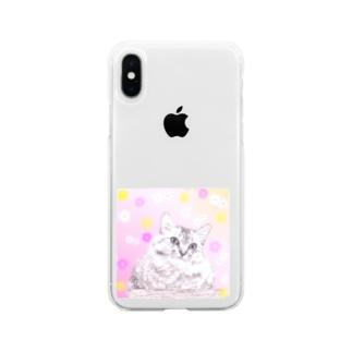おすましニャンコ Soft clear smartphone cases