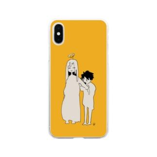 捕食を試みる〈黄〉 Soft clear smartphone cases