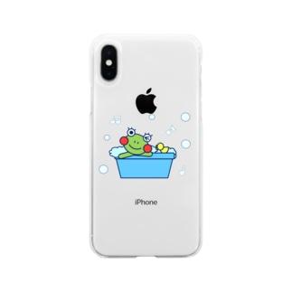 お風呂でのんびりなかえるさん Soft clear smartphone cases