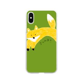キツネのジャンプ Soft clear smartphone cases