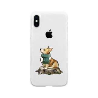 マフラー犬 コーギー Soft clear smartphone cases