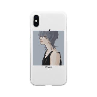 中性ウルフ Soft clear smartphone cases