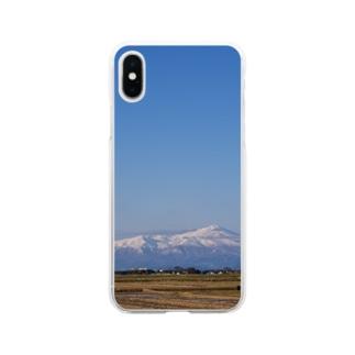鳥海山と空 Soft clear smartphone cases