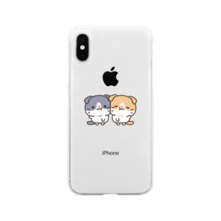 はちわれスコちゃん なかよしver. Soft clear smartphone cases