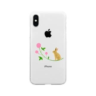 うさぎとピンクのお花 Soft clear smartphone cases