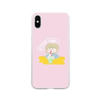 クリームソーダ飲み子ちゃん🍨 Soft clear smartphone cases