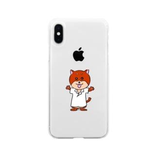 心理学が好きな犬 Soft clear smartphone cases
