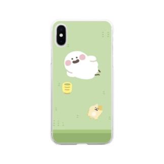 畳でくつろぐおばけのネコちゃん Soft clear smartphone cases