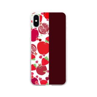 レッドのフルーツ Soft clear smartphone cases