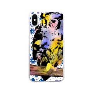 みみずくと花 Soft clear smartphone cases