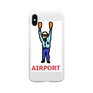 エアライン エアポート マーシャラー 空港 飛行機 Soft clear smartphone cases
