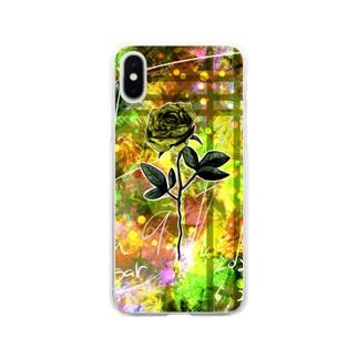 黄薔薇のスマホケース Soft clear smartphone cases