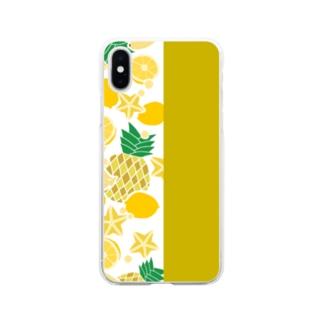 イエローのフルーツ Soft clear smartphone cases
