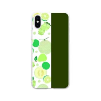 グリーンのフルーツ Soft clear smartphone cases