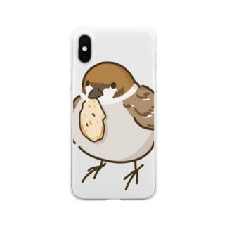 ◆だしのや◆のスズメのおくりもの Soft clear smartphone cases