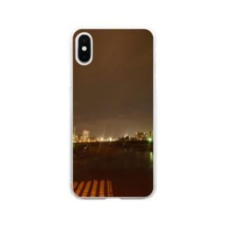 夜の街の風景 Soft clear smartphone cases