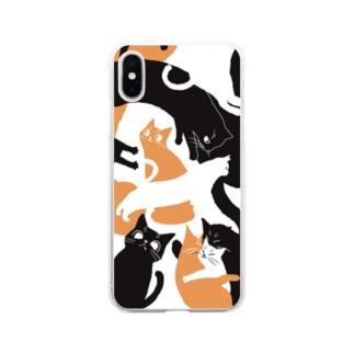 三色の猫 Soft clear smartphone cases