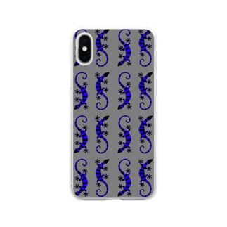 青いしましまのトカゲたち Soft clear smartphone cases