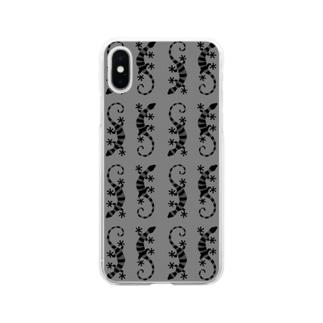 グレーのしましまのトカゲたち Soft clear smartphone cases