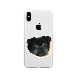 パグのダンボ&グッチ Soft clear smartphone cases