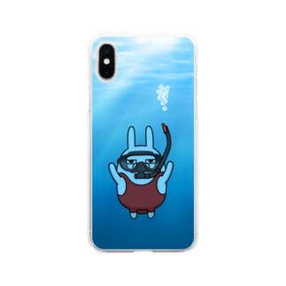 擦れうさぎダイビング Soft clear smartphone cases