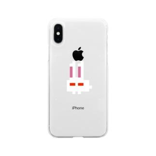 うさベーダー(透過) Soft clear smartphone cases
