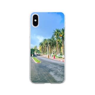 モロッコ:椰子の並木道 Morocco: Palm Tree-Lined Street Soft clear smartphone cases