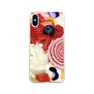 花とフルーツ Soft clear smartphone cases