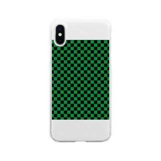 日本:市松模様緑 Soft clear smartphone cases