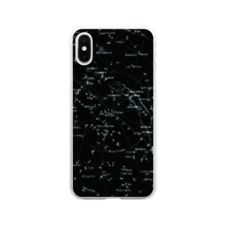 アンティーク星図[黒] Soft clear smartphone cases