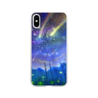夏の夜空ft.括弧いいネコ Soft clear smartphone cases