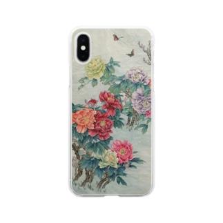 牡丹と蜂 Soft clear smartphone cases