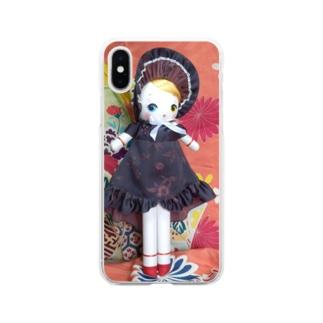 文化人形 氷月 Soft clear smartphone cases
