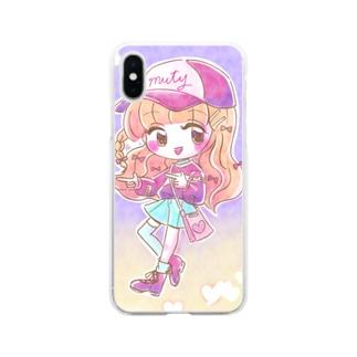 キラキラ・おリボン Soft clear smartphone cases