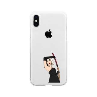 黒と刀 Soft clear smartphone cases