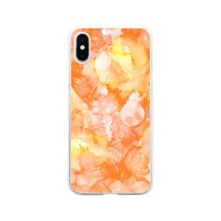 百花繚乱-橙 Soft clear smartphone cases