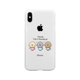 ちーむ トイプードル Soft clear smartphone cases