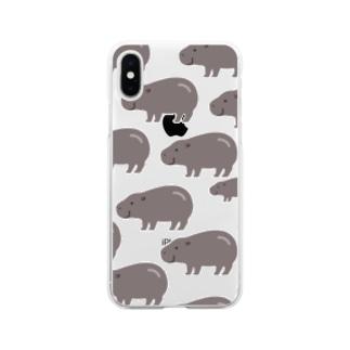 たくさんコビトカバ Soft clear smartphone cases