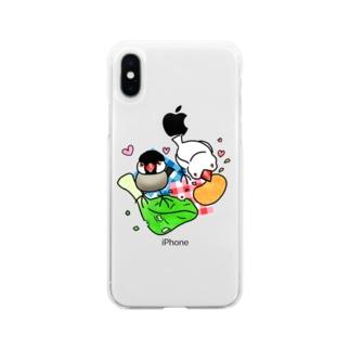 もぐもぐ文鳥ず② Soft Clear Smartphone Case