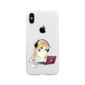 在宅勤務のプロ、その名は猫。 Soft clear smartphone cases