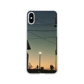 宵の空 自転車 Soft clear smartphone cases