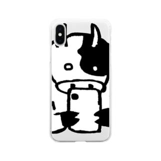 スマホに熱中するデカウシ Soft clear smartphone cases
