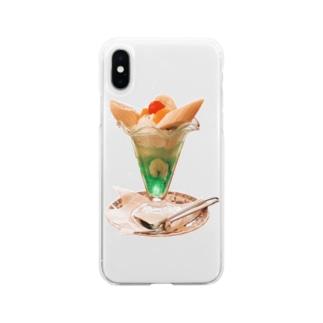 バナナパフェ Soft clear smartphone cases