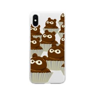 たぬきケーキいっぱい Soft Clear Smartphone Case