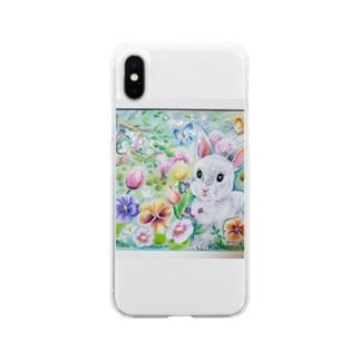 幸せうさぎ Soft clear smartphone cases