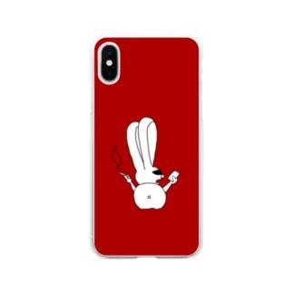 ちょいワルうさぎ 赤 Soft clear smartphone cases