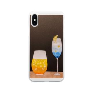 季節のカクテル Soft clear smartphone cases