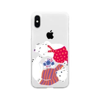 クマとクマがごろごろ Soft clear smartphone cases